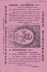 Advert For Jessie Winfield's Epsom Embrocation, Horse Medicine